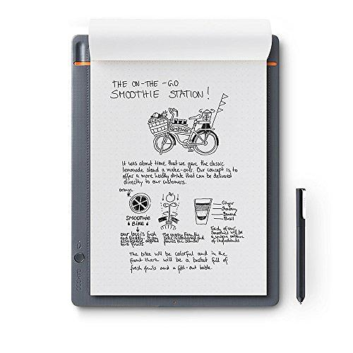 Wacom CDS-810S Bamboo Slate Digital Notepad A4 (Letter Size), Large Smart Notebook with Digitisation Technology Including Stylus with Ballpoint Pen, Compatible with Android and Apple, Grey/Orange
