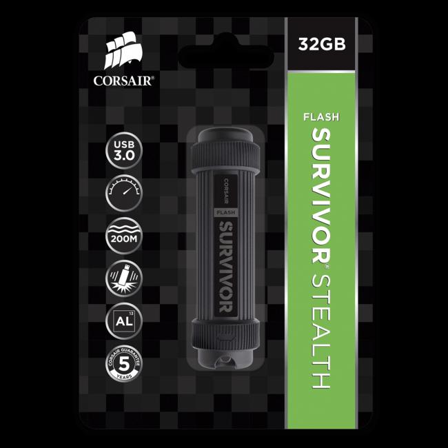 Corsair Flash Survivor Stealth 32gb Usb 3 0 Drive Cmfss3b 32gb Ccl Computers