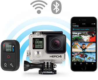 Control, view and share with built-in Wi-Fi + Bluetooth®. GoPro HERO4 Black Action Camera - SKU#1053339