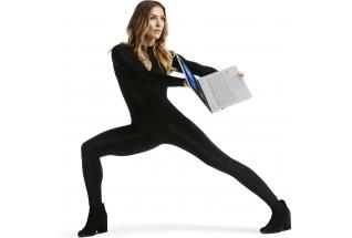 Dancer Allison Holker posing with the HP ENVY Notebook, open with Windows 10 screen