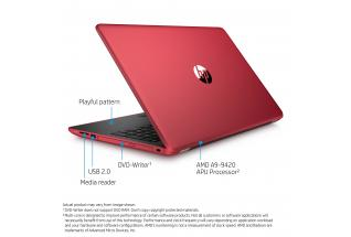 2C17 – HP Laptop 15-bw064nr (15.6, non-touch, empress red) with Windows 10, annotated, rear facing