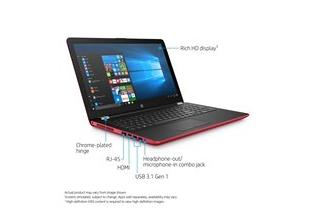 2C17 – HP Laptop 15-bw064nr (15.6, non-touch, empress red) with Windows 10, annotated, right facing