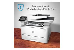HP LaserJet Pro MFP M426fdn, annotated, security with JetAdvantage Private Print