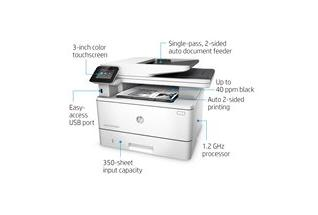 HP LaserJet Pro MFP M426fdn - Left facing, with output, annotated