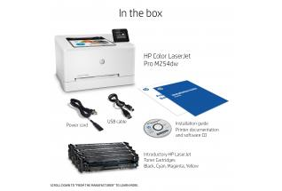 HP Color LaserJet Pro M254dw, annotated, what''s in the box, with output