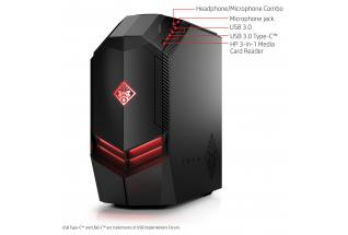 2C17 - OMEN by HP Desktop 880-110 (OMEN black) with Windows 10, annotated, left facing