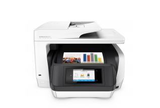 HP OfficeJet Pro 8720 All-in-One (White), Center, Front, with output