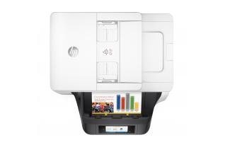 HP OfficeJet Pro 8720 All-in-One (White), Aerial/Top, with output