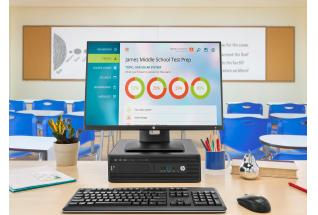 HP single display set up with the Z24n Displays, the HP Z240 SFF Workstation horizontal, a wireless