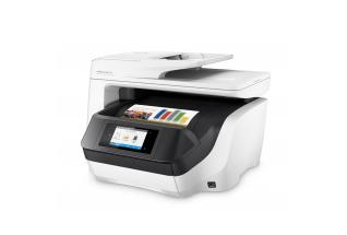 HP OfficeJet Pro 8720 All-in-One (White), Left facing, with output