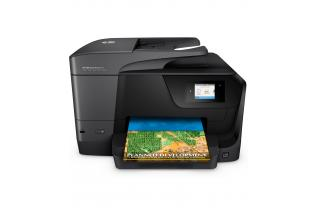 HP OfficeJet Pro 8710 All-in-One, center facing with output sample