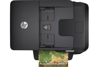HP OfficeJet Pro 8710 All-in-One, top view with output sample