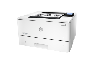 HP LaserJet Pro M402n, Left facing, with output