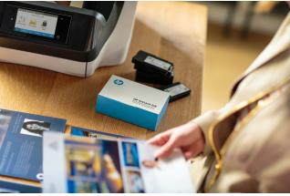 HP OfficeJet Pro 8720 All-in-One Printer being used with a HP Instant Ink Welcome Kit to print real