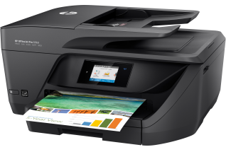 HP OfficeJet Pro 6960 All-in-One, Left facing, with output