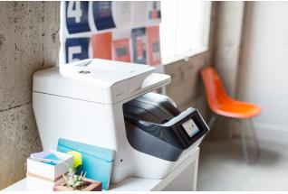 HP Officejet Pro 8720 All-in-One Printer on a shelf in an office.