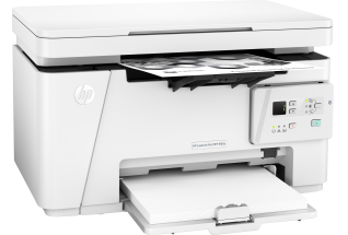 HP LaserJet Pro MFP M26a, Right facing, with output