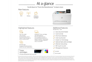 HP Color LaserJet Pro M254dw, annotated, at a glance, with output