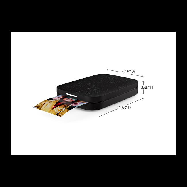 HP Sprocket Photo Printer (Noir), annotated, dimensions