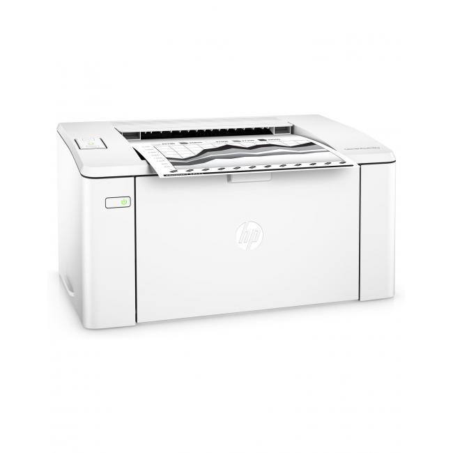 HP LaserJet Pro M102w, Right facing, with output