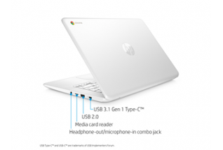 18C2 - HP Chromebook 14-db0070nr (14.0, touch, snow white), annotated, left rear facing