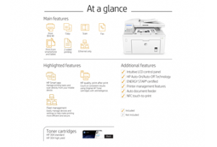 HP LaserJet Pro MFP M227fdn, at a glance
