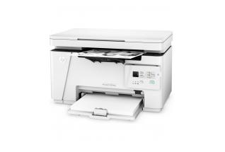 HP LaserJet Pro MFP M26a, Left facing, with output