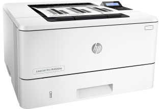HP LaserJet Pro M402dne, Right facing, with output