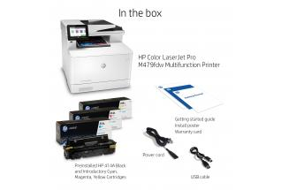 HP Color LaserJet Pro MFP M479fdw, annotated, what''s in the box, with output