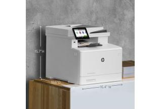 HP Color LaserJet Pro MFP M479fdw, annotated, dimensions, with output