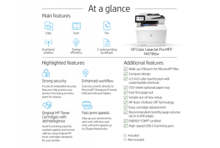 HP Color LaserJet Pro MFP M479fdw, annotated, at a glance, with output
