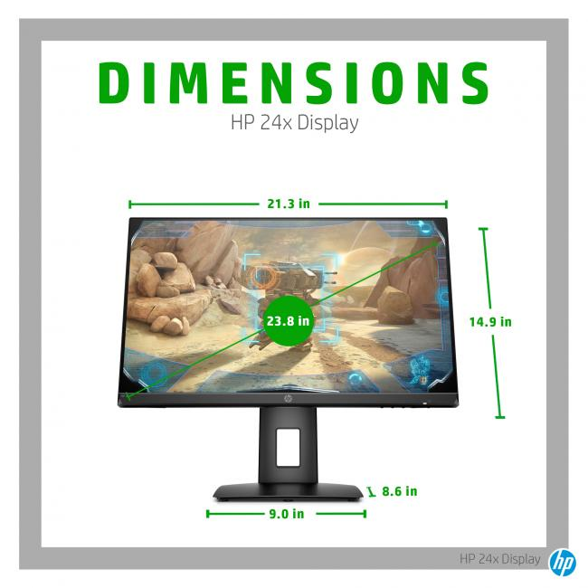19C1 - HP 24x Gaming Display - Annotated Image - Dimensions