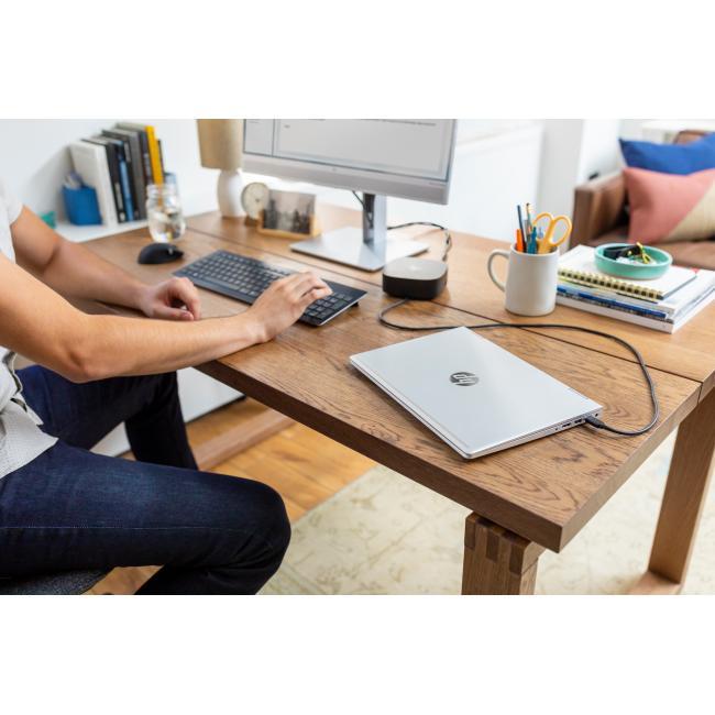 HP ProBook x360 435 G7, HP EliteDisplay E243m 23.8-inch Monitor, HP USB-C Dock G5, keyboard