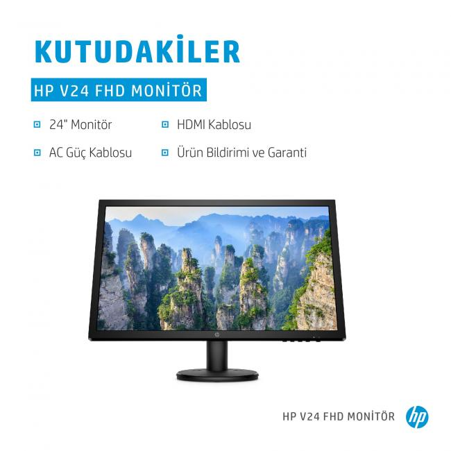 HP V24 FHD Monitor Annotated Image - In The Box - Turkish