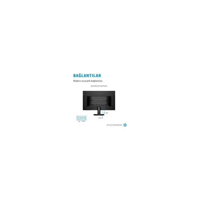 HP V24 FHD Monitor Annotated Image - Ports - Turkish