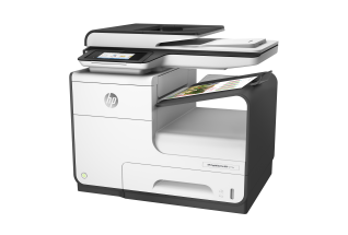 HP PageWide Pro MFP 477dn MFP, Left facing, with output