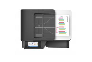 HP PageWide Pro MFP 477dn MFP, Aerial/Top, with output
