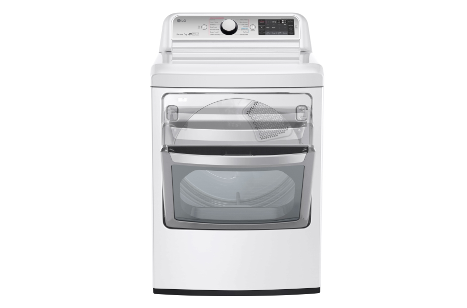 lg 73cuft ultra large capacity electric dryer with easyload door in white