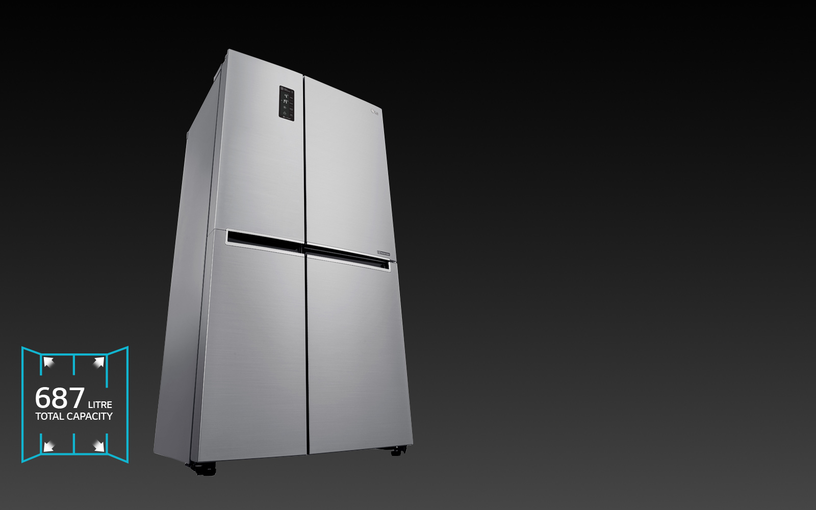 LG 687L Side by Side Refrigerator - GS-B680PL
