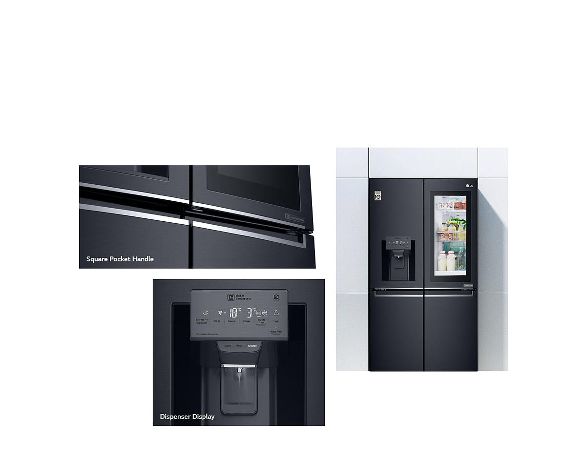 LG 708L InstaView Door-in-Door French Door Fridge - Matte Black_ GF-V708MBSL