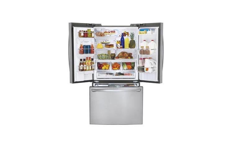 LG 24CuFt 3 Door French Door Ultra Capacity Counter Depth Refrigerator In  Stainless Steel