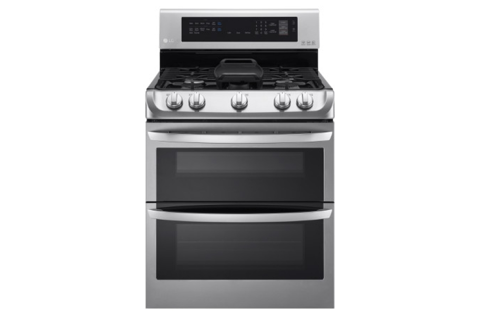 lg 69cuft stainless steel with probake convection gas double oven and 18500btu burner ldg4315st