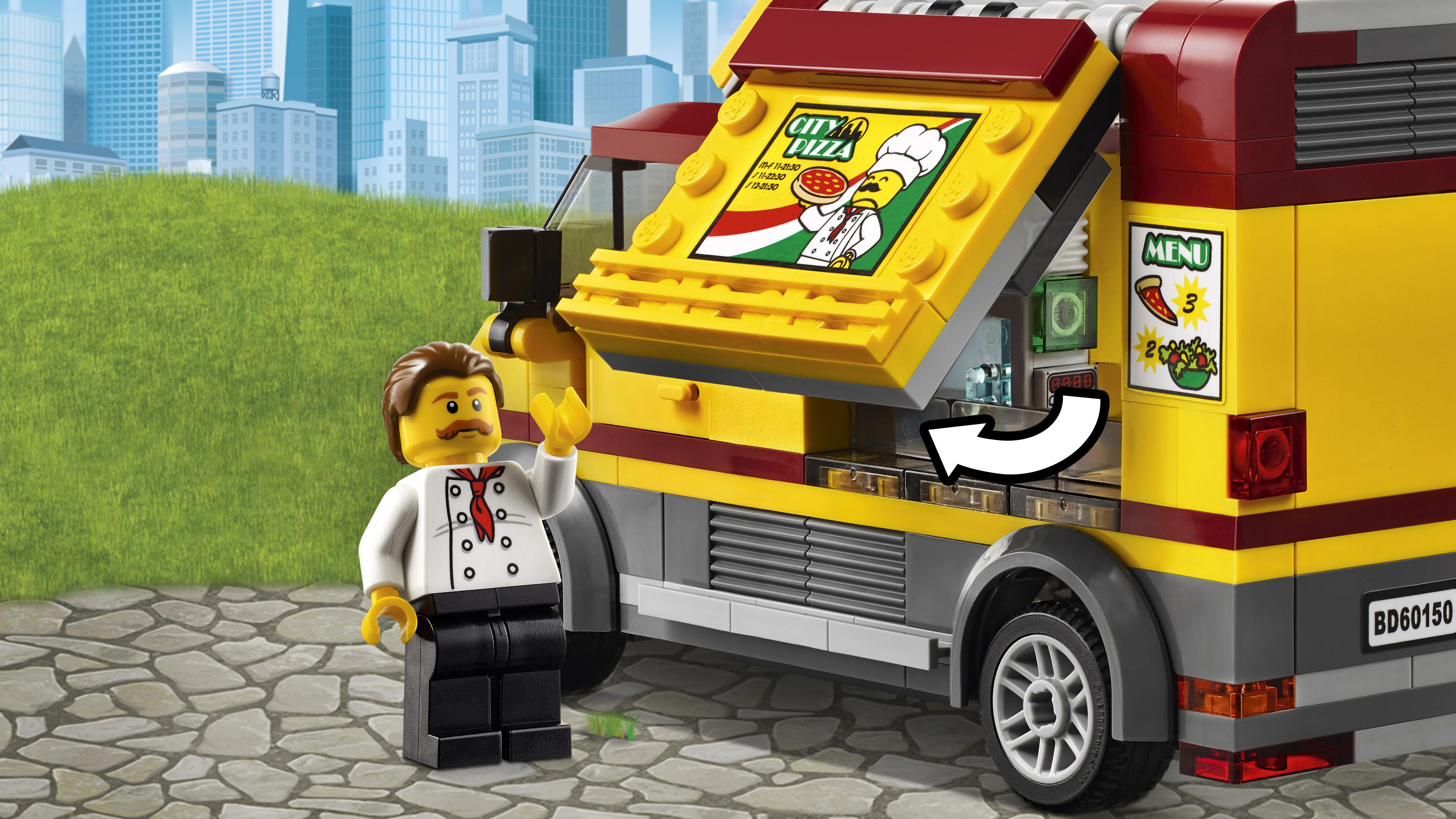 pizza van features opening sides and a kitchen area for the chef to serve pizza - Camion Lego