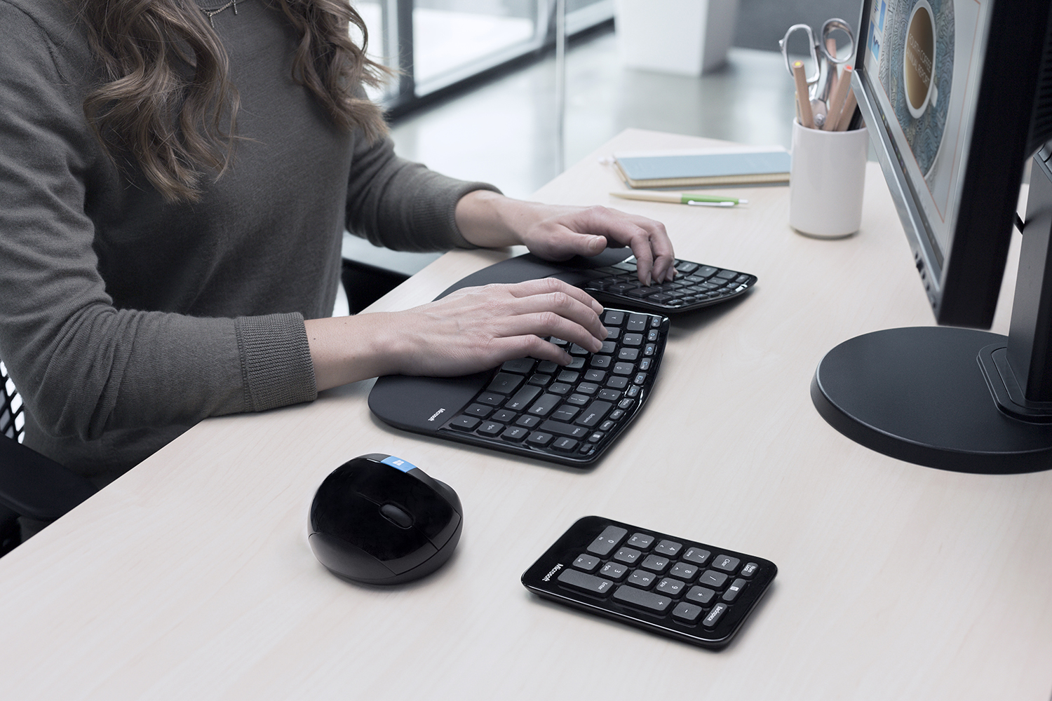microsoft sculpt ergonomic wireless desktop keyboardkeypadmouse combo black by office depot. Black Bedroom Furniture Sets. Home Design Ideas