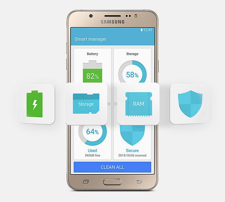 Informasi Baterai Status Penyimpanan Memori Dan Pengaturan Keamanan Kini Semakin Mudah Dengan Adanya Fitur Smart Manager Di Galaxy J7 2016