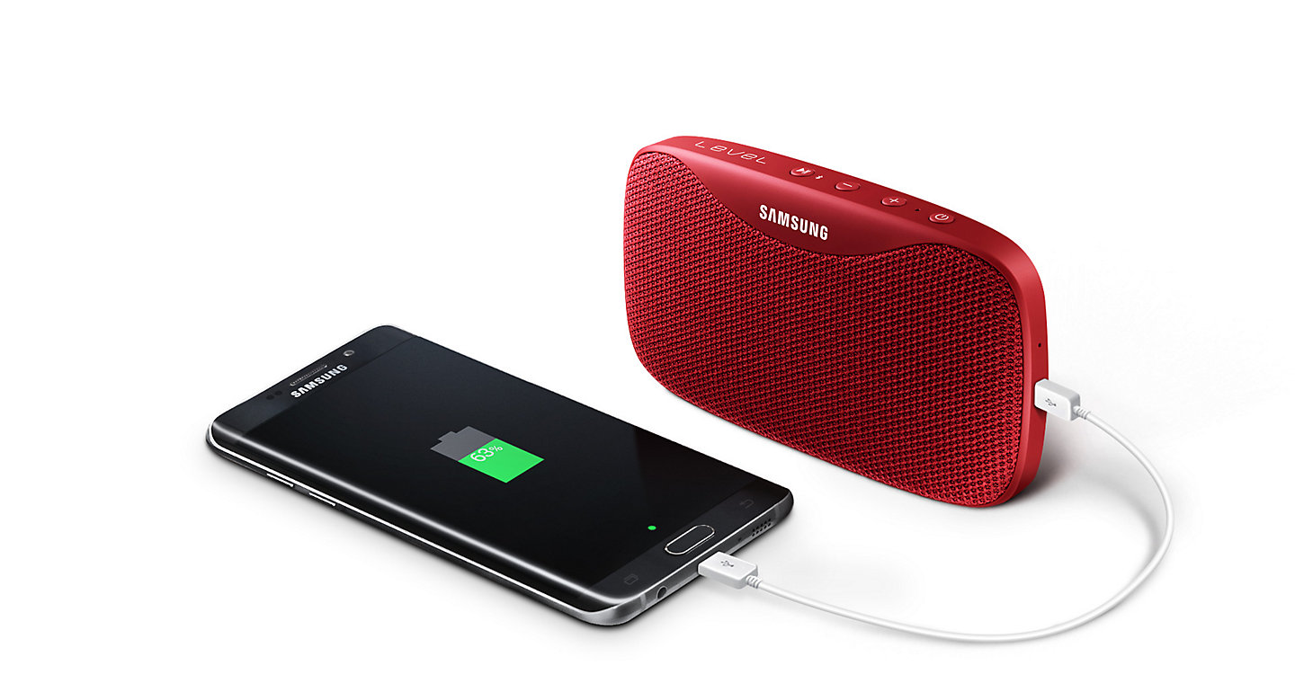 samsung level box slim. equipped with a 2,600 mah battery, the level box slim allows for up to 10 hours of music playback. listen while speaker charges your phone. samsung