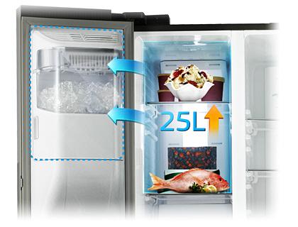 Side By Side Kühlschrank Mit Eiswürfelspender : Samsung rs hdrpbsr side by side kühl gefrierkombination