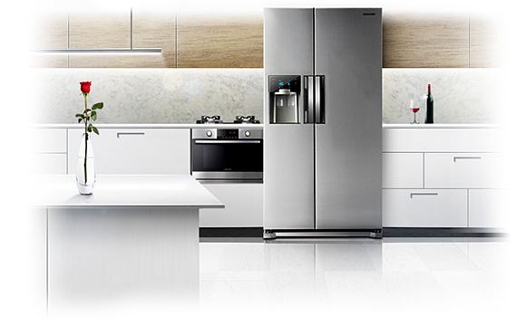 Amerikanischer Kühlschrank In Küche : Bauformat musterküche grifflose moderne küche ausstellungsküche