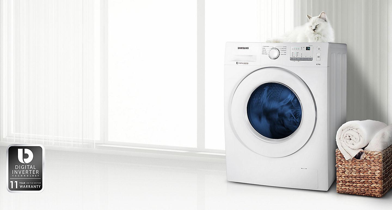 Jual Samsung Front Loading Ww65j3033lw Mesin Cuci White 65 Kg Washer Ww75k5210yw Sistem Kerja Motor Dengan Digital Inverter Membuat Tidak Bising Lebih Hemat Listrik Dan Tahan Lama Garansi 11 Tahun