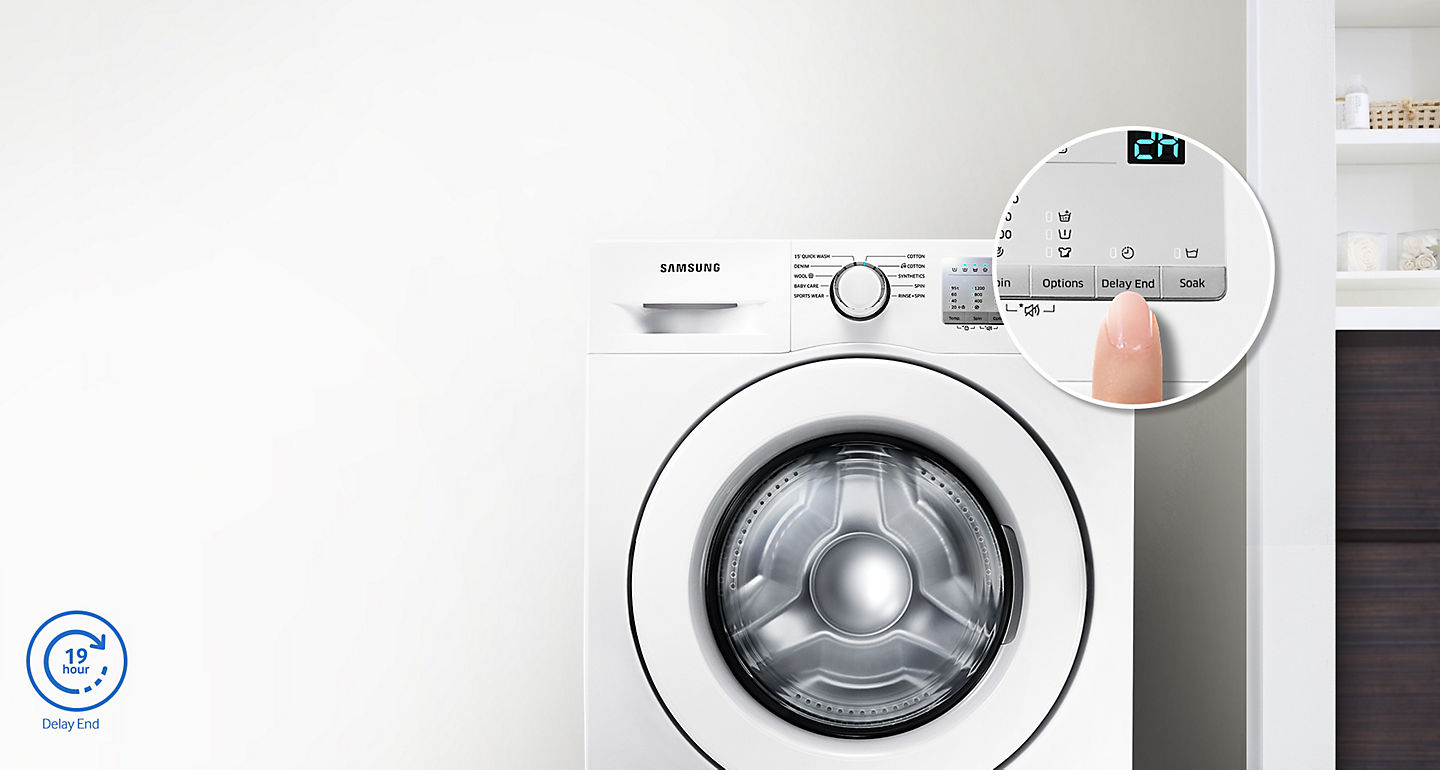 Buy samsung 7kg front load washing machine ww 70j3280 kw online in it can be adjusted and delayed by up to 19 hours so that damp clothes arent left in the washing machine for too long solutioingenieria Choice Image